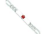Sterling Silver Polished Medical Figaro Anchor Link Id Bracelet style: XSM164