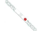 Sterling Silver Polished Medical Anchor Link Id Bracelet style: XSM168