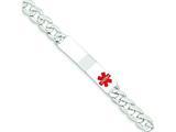 Sterling Silver Polished Medical Curb Link Id Bracelet style: XSM169