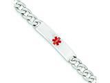 Sterling Silver Polished Medical Curb Link Id Bracelet style: XSM172