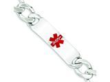 Sterling Silver Polished Medical Figaro Anchor Link Id Bracelet style: XSM177