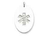 Sterling Silver Non-enameled Medical Jewelry Pendant Necklace - Chain Included style: XSM63N