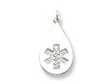 Sterling Silver Medical Jewelry Non-enameled Pendant Necklace - Chain Included style: XSM86N