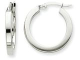 14k White Gold Square Tube Hoop Earrings style: XWE120