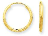 14k 1.5mm Satin Bright-cut Endless Hoop Earrings style: XY1174