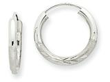 14k White Gold 2mm Bright-cut Endless Hoop Earrings style: XY1199