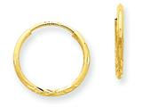 14 kt Yellow Gold 1.25mm Bright-cut Endless Hoop Earring style: XY1220