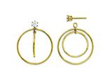Finejewelers 14k Yellow Gold Double Hoop With CZ Earring Jackets style: YE1087