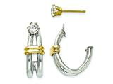 14k Two-tone J Hoop With CZ Stud Earring Jackets style: YE1483