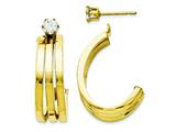 14 kt Yellow Gold Polished J Hoop With 4mm CZ Stud Earring Jackets style: YE1487