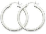 14k White Gold 3mm Polished Square Tube Hoop Earrings style: Z1118