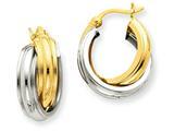 14k Two-tone Polished Double Hoop Earrings style: Z759
