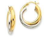 14k Two-tone Polished Double Tube Hoop Earrings style: Z795