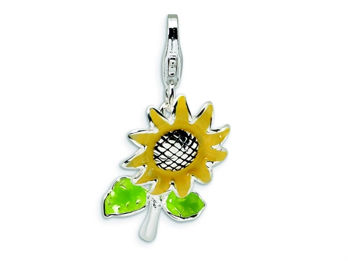 925 Sterling Silver Rhodium-plated Enameled Surf Board with Flowers Lobster Clasp Charm