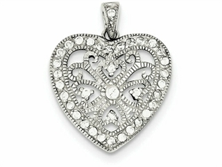 Finejewelers Sterling Silver Cubic Zirconia Double Heart Necklace
