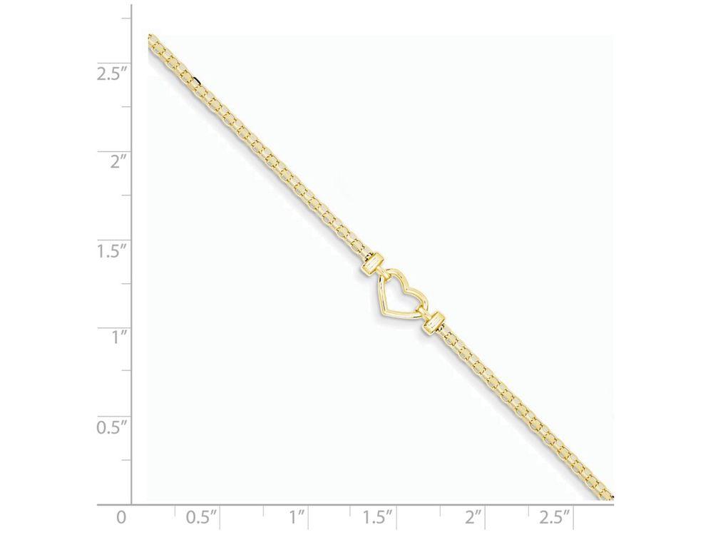 14k White Gold 9in Double Strand Heart Anklet