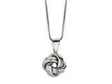 Polished Love Knot Pendant Necklace on 18 Inch Chain style: 460121CD