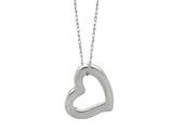 14K White Gold Open Heart Pendant Necklace on a 18 Inch Chain style: 460204