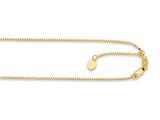 14K Yellow Gold 22 Inch bright-cut Adjustable Box Chain Necklace with Lobster Clasp and Small Heart Charm style: 460234