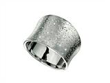 Rhodium Plated Textured Stardust Bright Cut Ring style: 460287