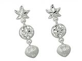 Finejewelers 925 Sterling Silver Star Fish Sand Dollar Shell Sea Life Earrings style: 460340CD