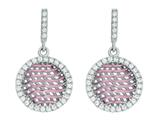 Silver with Rose Finish Rose Mesh Puffed Type Round Earrings On Post with Butterfly Clasp style: 460492