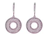 Silver with Rose Finish Shiny Fancy Open Circle Earrings Studded with White Cubic Zirconia style: 460493