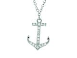 Silver with Rhodium Finish Shiny Cable Chain Small Anchor Pendant Necklace with White Cubic Zirconia style: 460517