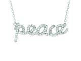"Silver with Rhodium Finish Shiny Cable Chain ""Peace"" Pendant Necklace with White Cubic Zirconia style: 460521"