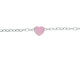 Silver with Rhodium Finish Shiny Rose Flat Heart Anchored On Oval Link Chain Necklace style: 460533