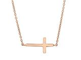 Silver with Rose Finish Shiny Sideways Cross Anchored On Cable Link Necklace style: 460538