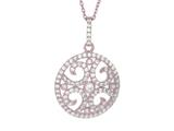 "Silver 18"" Rose Finish Fancy Circle with Swirl Pattern Pendant Necklace with White Cubic Zirconia style: 460548"
