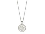"Silver 18"" Rhodium Finish Open Round Pendant Necklace style: 460563"