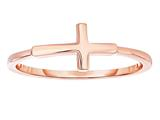 Finejewelers Sterling Silver Rose Finish Shiny Small Sideways Cross Ring style: 460564