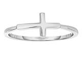 Silver Rhodium Finish Shiny Small Sideways Cross Ring style: 460565