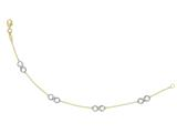 14 kt Yellow and White Gold Shiny Cable Chain with Station Infinity Fancy Bracelet style: 460580