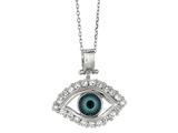 Sterling Silver 18 Inch Evil Eye Pendant Necklace style: 470001CD