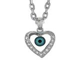 Sterling Silver 18 Inch Heart Evil Eye Pendant Necklace style: 470003