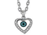 Sterling Silver 18 Inch Heart Evil Eye Pendant style: 470003