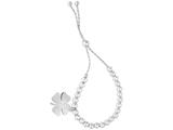 Rhodium Sterling Silver 9.25 Inch 4 Leaf Clover Charm Adjustable Friendship Bracelet Draw String Clasp style: 470031