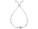 Sterling Silver 9.25 Inch Rhodium CZ Key Charm On Bead Friendship Adjustable Bracelet Draw String Clasp style: 470135