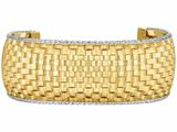 14 Kt Two Tone Gold Heritage Dome Cuff Basket Weave Bangle style: 470452