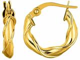 14 Kt Yellow Gold 10mm Round Type Twisted Hoop Earring style: 470692