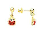 14 Kt Yellow Gold Chain Link With Red Ladybug Drop Earring style: 470936