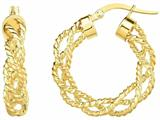14 Kt Yellow Gold 4x15mm Textured Round Hoop Earring style: 470966