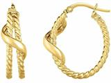 14 Kt Yellow Gold 5x20mm Textured Oval Hoop Earring style: 470967