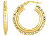 14 Kt Yellow Gold 4x15 Mm Round Hoop Fancy Earring style: 470985