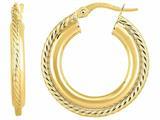 14 Kt Yellow Gold 4x15 Mm Round Hoop Fancy Earring style: 470985
