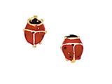 14 Kt Yellow Gold Red Black Ladybug Post Earring style: 471039
