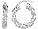14 Kt White Gold 4x15mm Textured Round Hoop Earring style: 471909